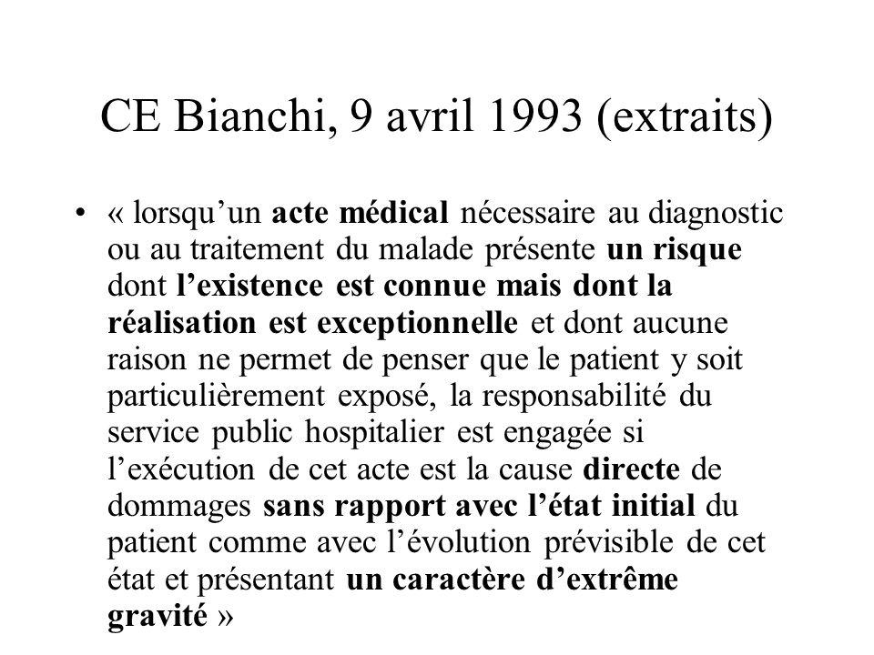 CE Bianchi, 9 avril 1993 (extraits) « lorsquun acte médical nécessaire au diagnostic ou au traitement du malade présente un risque dont lexistence est