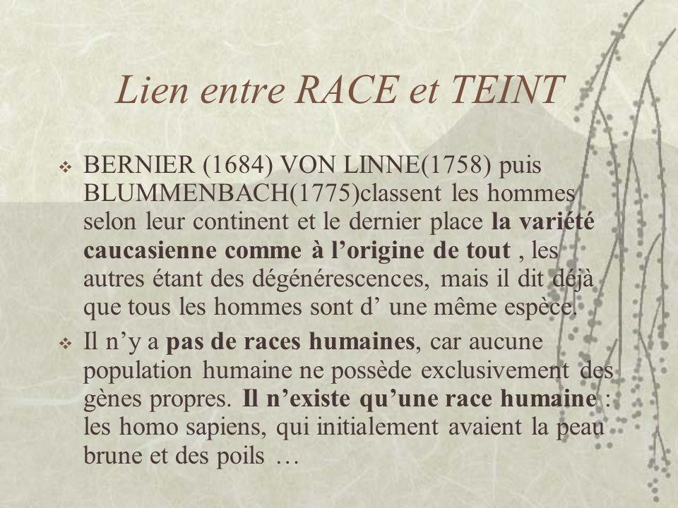 Lien entre RACE et TEINT BERNIER (1684) VON LINNE(1758) puis BLUMMENBACH(1775)classent les hommes selon leur continent et le dernier place la variété