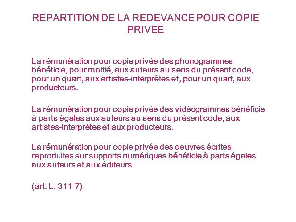 REPARTITION DE LA REDEVANCE POUR COPIE PRIVEE La rémunération pour copie privée des phonogrammes bénéficie, pour moitié, aux auteurs au sens du présent code, pour un quart, aux artistes-interprètes et, pour un quart, aux producteurs.