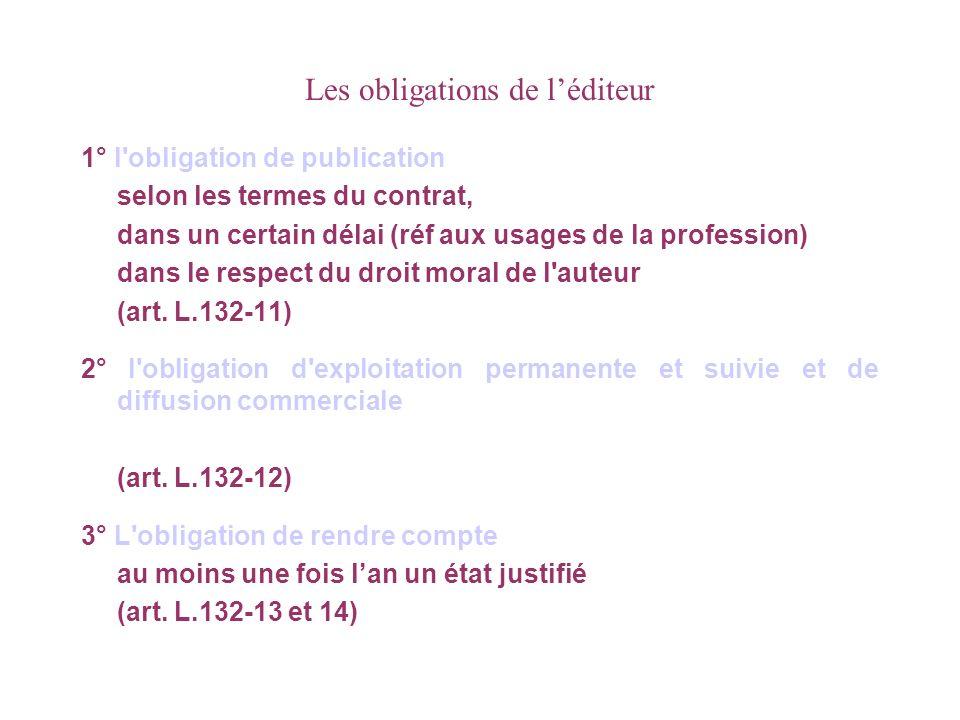 Les obligations de léditeur 1° l obligation de publication selon les termes du contrat, dans un certain délai (réf aux usages de la profession) dans le respect du droit moral de l auteur (art.