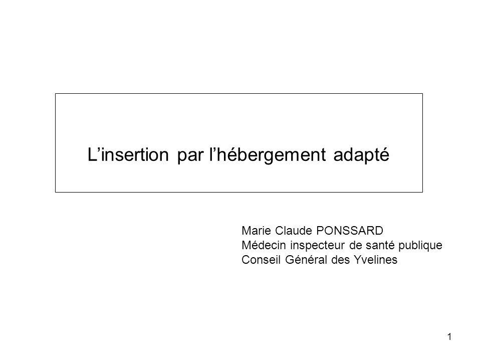 1 Marie Claude PONSSARD Médecin inspecteur de santé publique Conseil Général des Yvelines Linsertion par lhébergement adapté