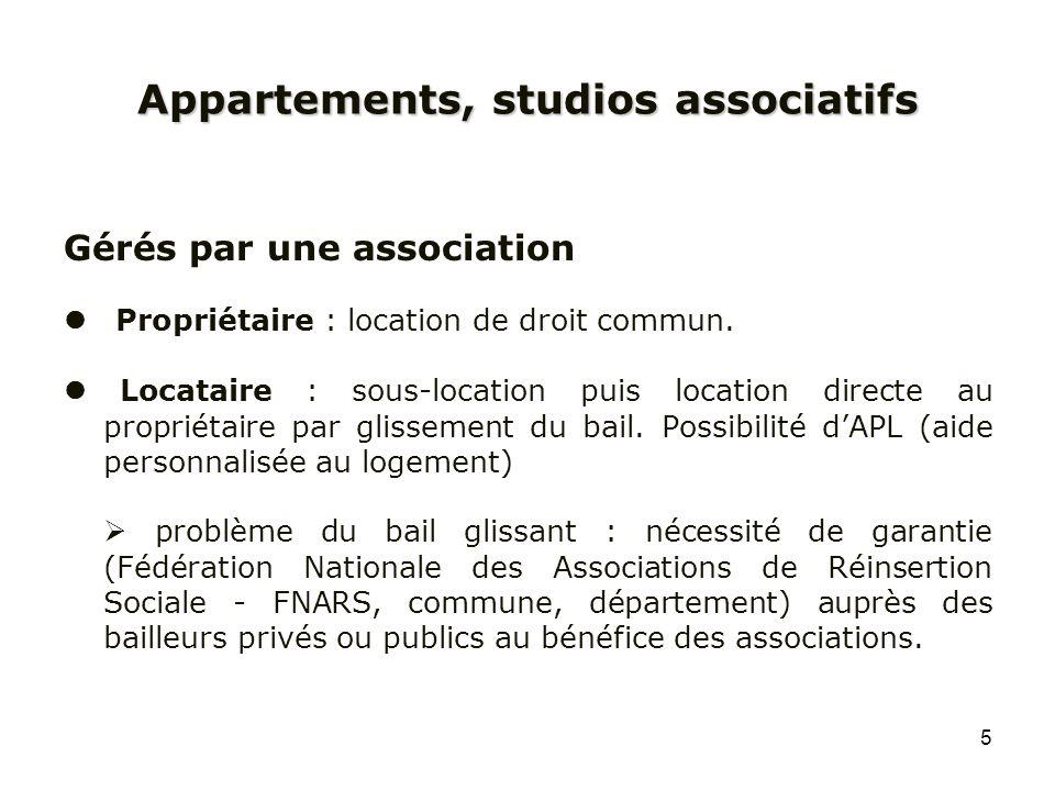 5 Appartements, studios associatifs Gérés par une association Propriétaire : location de droit commun. Locataire : sous-location puis location directe