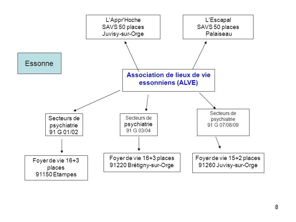 8 Association de lieux de vie essonniens (ALVE) L'Appr'Hoche SAVS 50 places Juvisy-sur-Orge L'Escapal SAVS 50 places Palaiseau Secteurs de psychiatrie