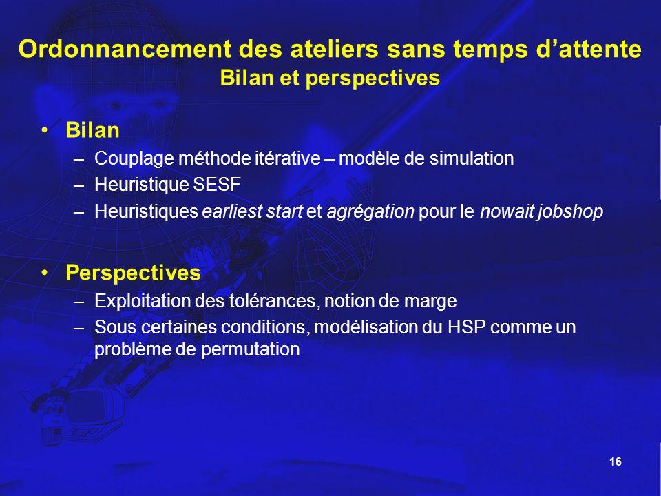 16 Bilan –Couplage méthode itérative – modèle de simulation –Heuristique SESF –Heuristiques earliest start et agrégation pour le nowait jobshop Perspe