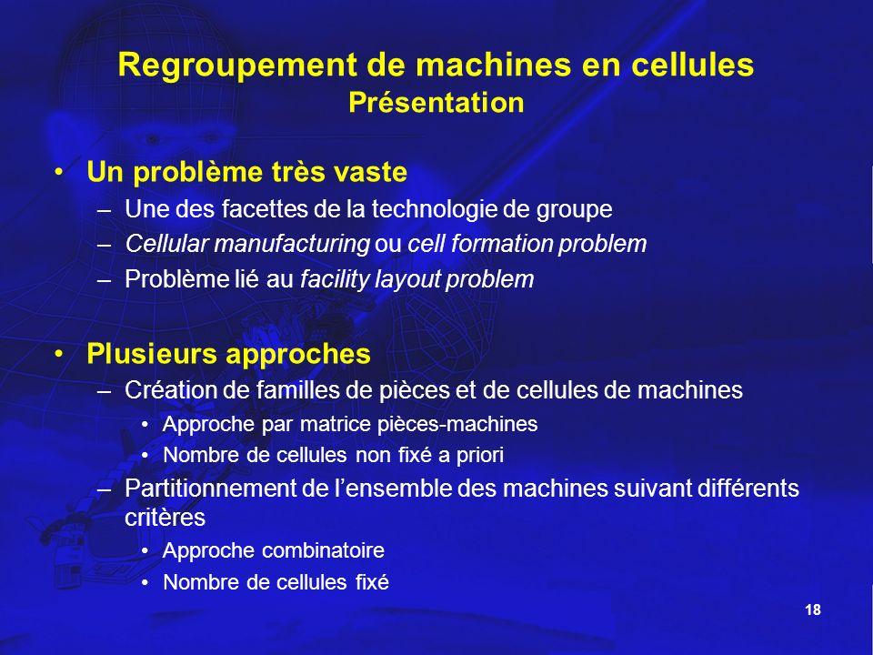 18 Regroupement de machines en cellules Présentation Un problème très vaste –Une des facettes de la technologie de groupe –Cellular manufacturing ou c