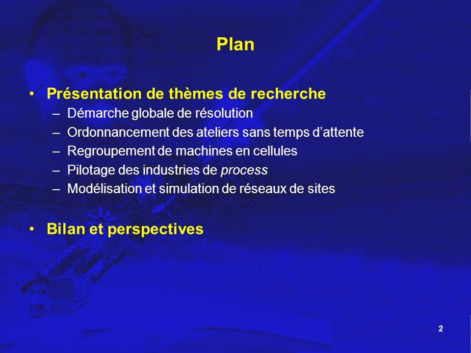 2 Plan Présentation de thèmes de recherche –Démarche globale de résolution –Ordonnancement des ateliers sans temps dattente –Regroupement de machines
