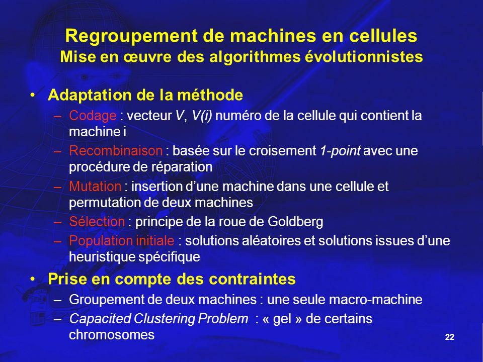 22 Regroupement de machines en cellules Mise en œuvre des algorithmes évolutionnistes Adaptation de la méthode –Codage : vecteur V, V(i) numéro de la