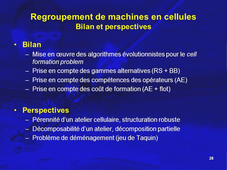 28 Regroupement de machines en cellules Bilan et perspectives Bilan –Mise en œuvre des algorithmes évolutionnistes pour le cell formation problem –Pri