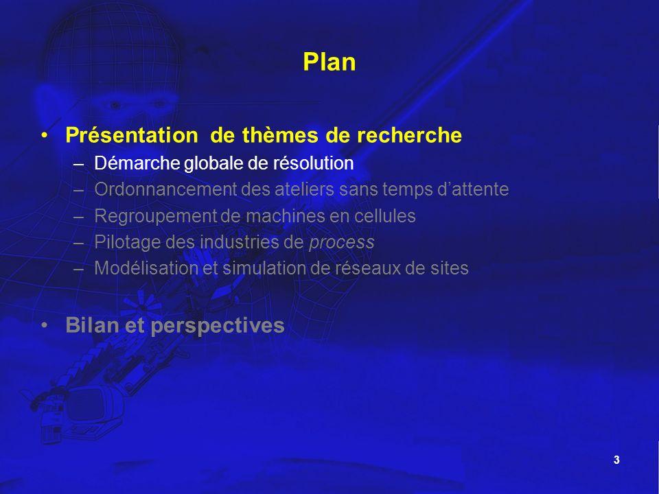 3 Plan Présentation de thèmes de recherche –Démarche globale de résolution –Ordonnancement des ateliers sans temps dattente –Regroupement de machines