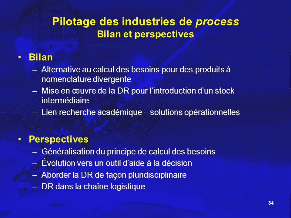 34 Pilotage des industries de process Bilan et perspectives Bilan –Alternative au calcul des besoins pour des produits à nomenclature divergente –Mise
