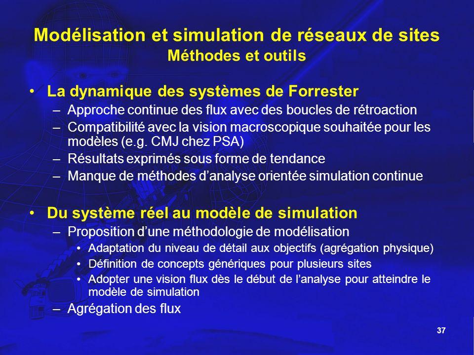 37 Modélisation et simulation de réseaux de sites Méthodes et outils La dynamique des systèmes de Forrester –Approche continue des flux avec des boucl