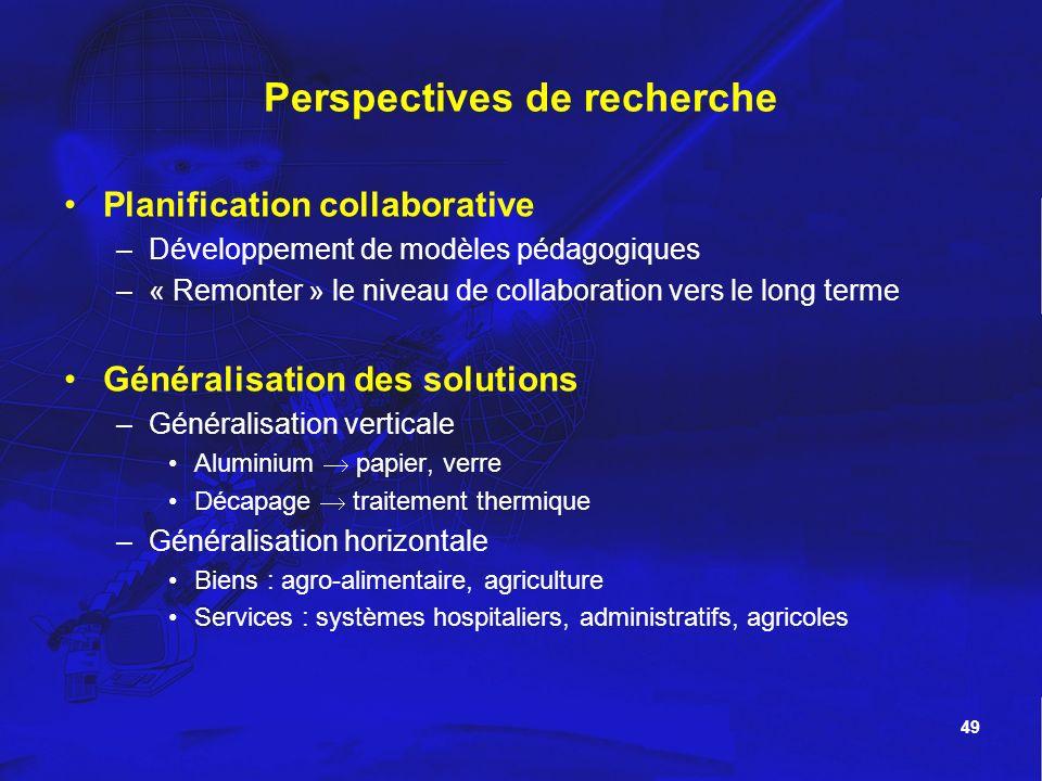 49 Perspectives de recherche Planification collaborative –Développement de modèles pédagogiques –« Remonter » le niveau de collaboration vers le long