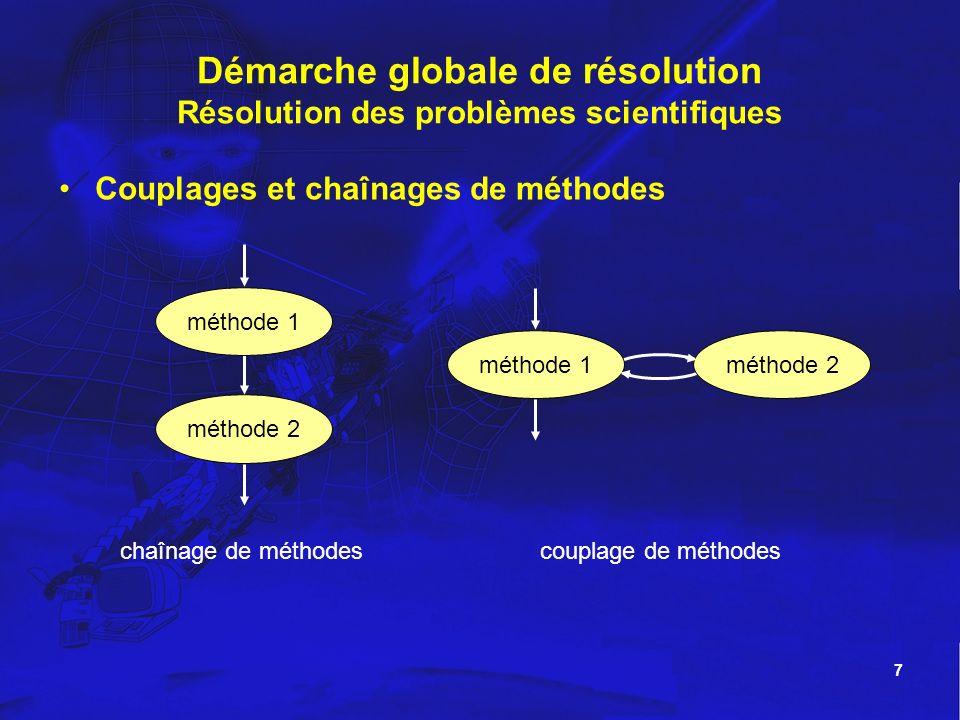 7 Démarche globale de résolution Résolution des problèmes scientifiques Couplages et chaînages de méthodes méthode 2 méthode 1méthode 2 chaînage de mé
