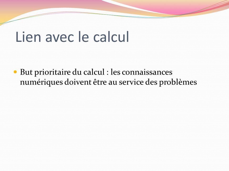 Lien avec le calcul But prioritaire du calcul : les connaissances numériques doivent être au service des problèmes