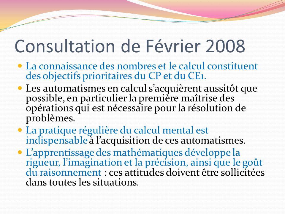 Consultation de Février 2008 La connaissance des nombres et le calcul constituent des objectifs prioritaires du CP et du CE1. Les automatismes en calc