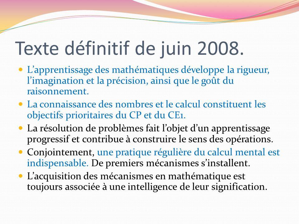 Texte définitif de juin 2008. Lapprentissage des mathématiques développe la rigueur, limagination et la précision, ainsi que le goût du raisonnement.