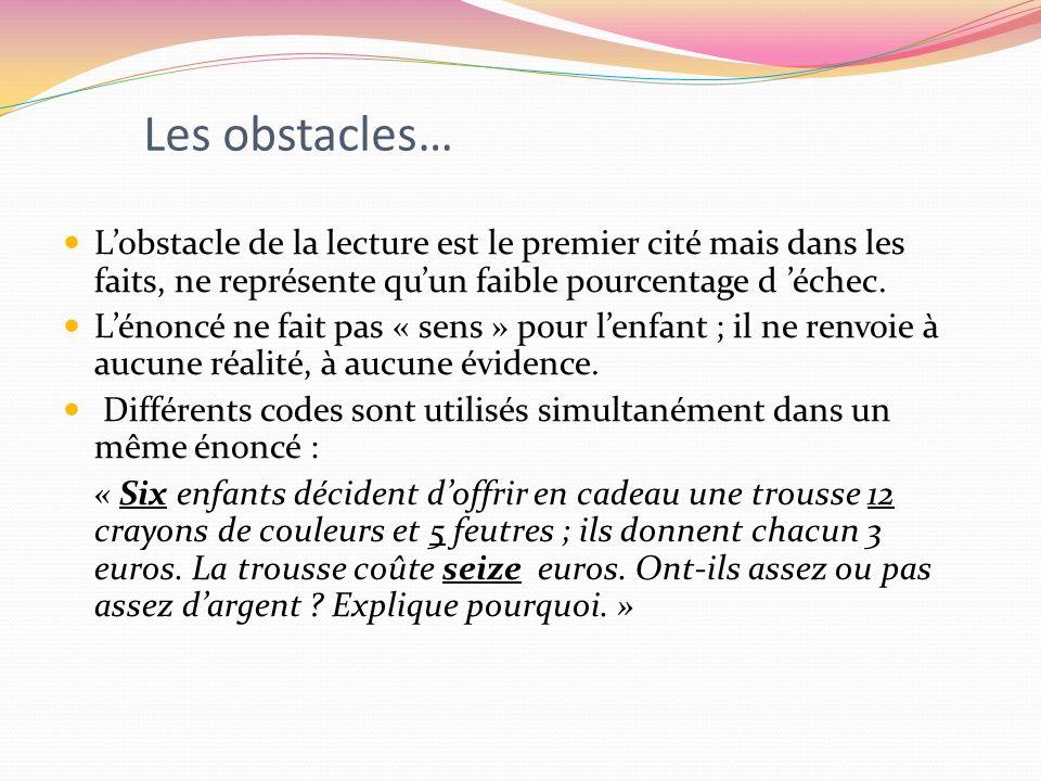 Les obstacles… Lobstacle de la lecture est le premier cité mais dans les faits, ne représente quun faible pourcentage d échec. Lénoncé ne fait pas « s