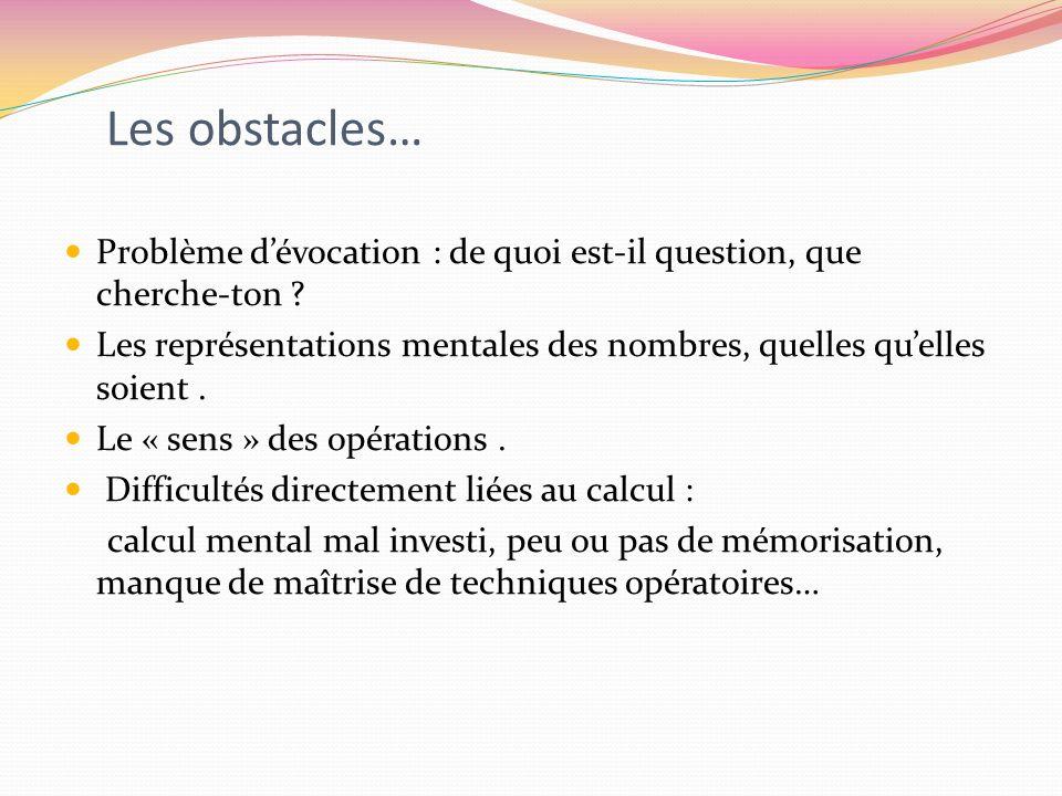 Les obstacles… Problème dévocation : de quoi est-il question, que cherche-ton ? Les représentations mentales des nombres, quelles quelles soient. Le «