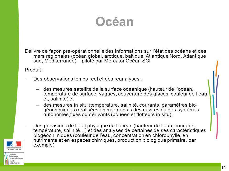 11 Océan Délivre de façon pré-opérationnelle des informations sur létat des océans et des mers régionales (océan global, arctique, baltique, Atlantiqu