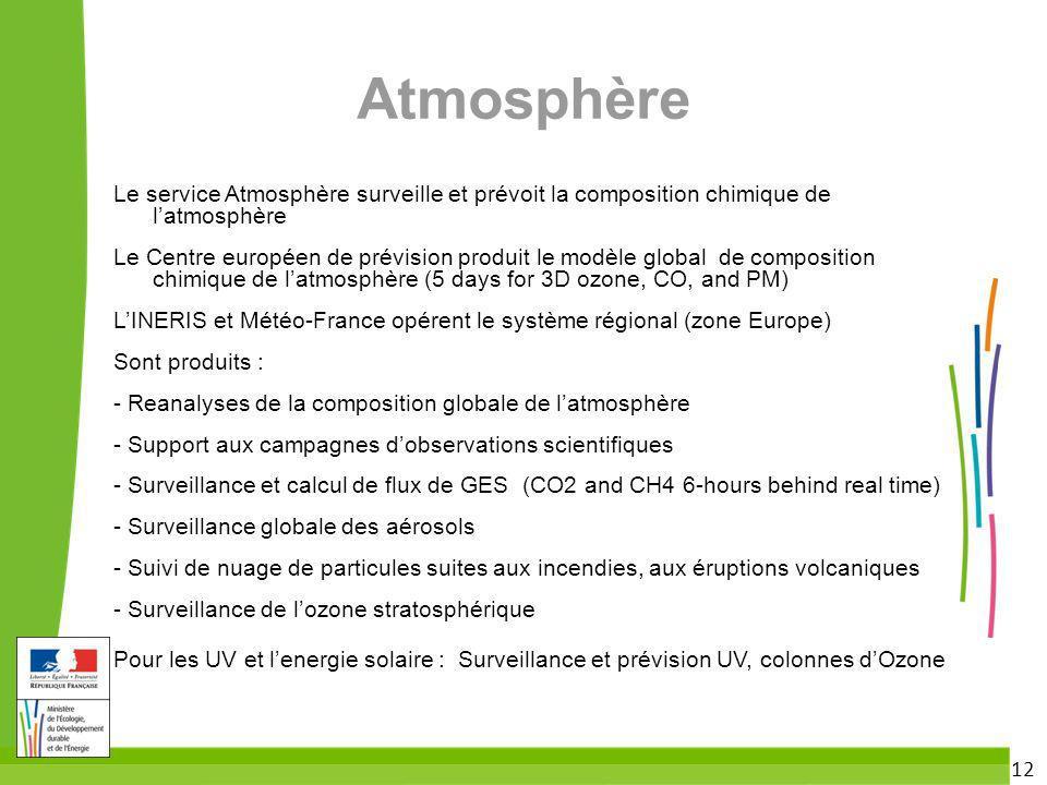 12 Atmosphère Le service Atmosphère surveille et prévoit la composition chimique de latmosphère Le Centre européen de prévision produit le modèle glob