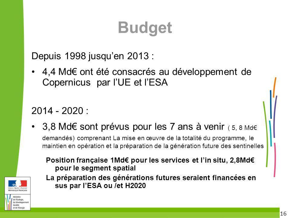 16 Budget Depuis 1998 jusquen 2013 : 4,4 Md ont été consacrés au développement de Copernicus par lUE et lESA 2014 - 2020 : 3,8 Md sont prévus pour les