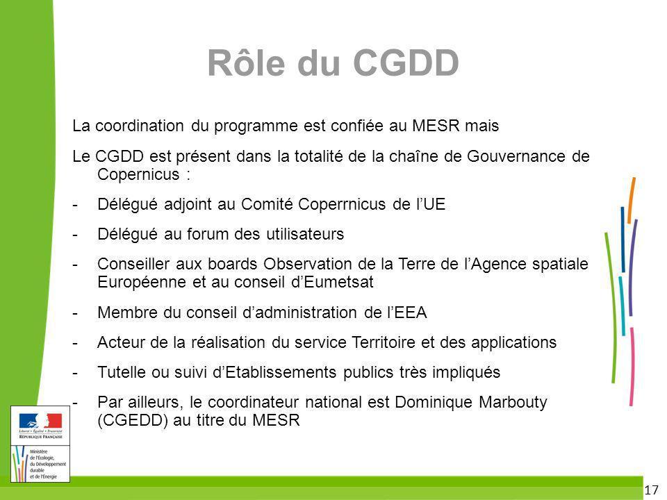 17 Rôle du CGDD La coordination du programme est confiée au MESR mais Le CGDD est présent dans la totalité de la chaîne de Gouvernance de Copernicus :
