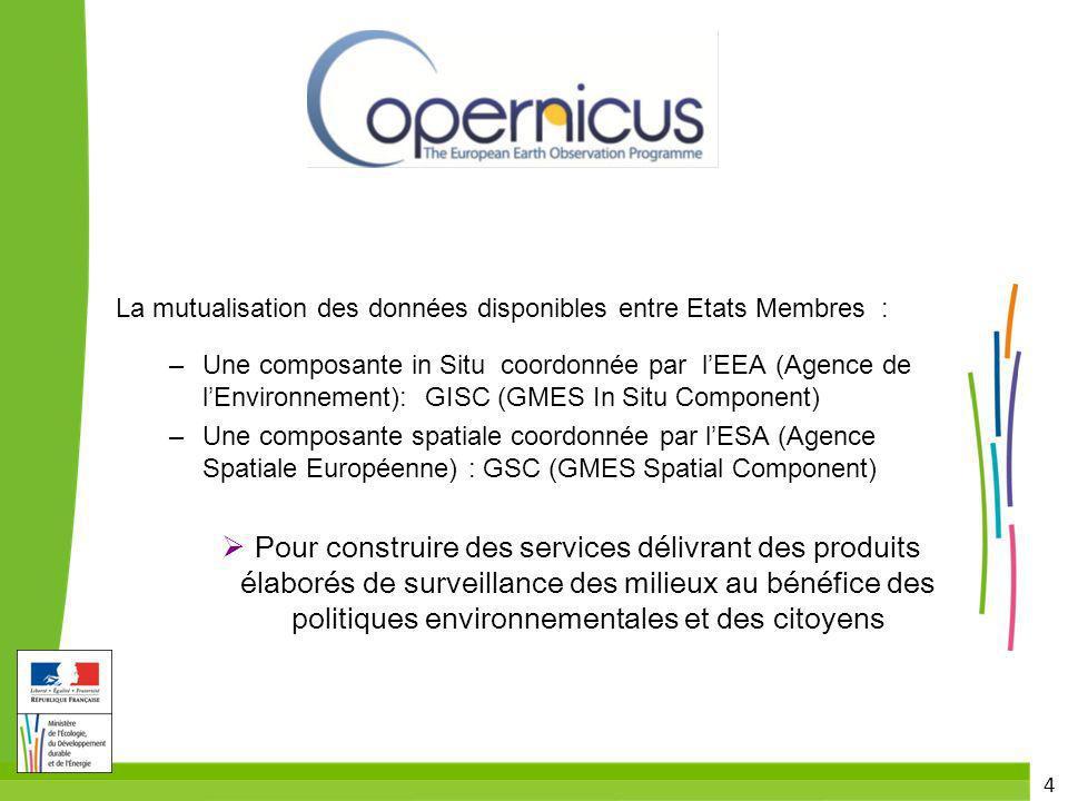 4 La mutualisation des données disponibles entre Etats Membres : – Une composante in Situ coordonnée par lEEA (Agence de lEnvironnement): GISC (GMES I