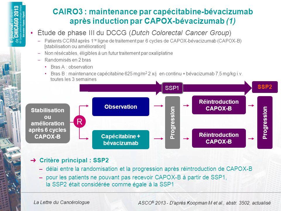 La Lettre du Cancérologue CAIRO3 : maintenance par capécitabine-bévacizumab après induction par CAPOX-bévacizumab (1) Étude de phase III du DCCG (Dutc