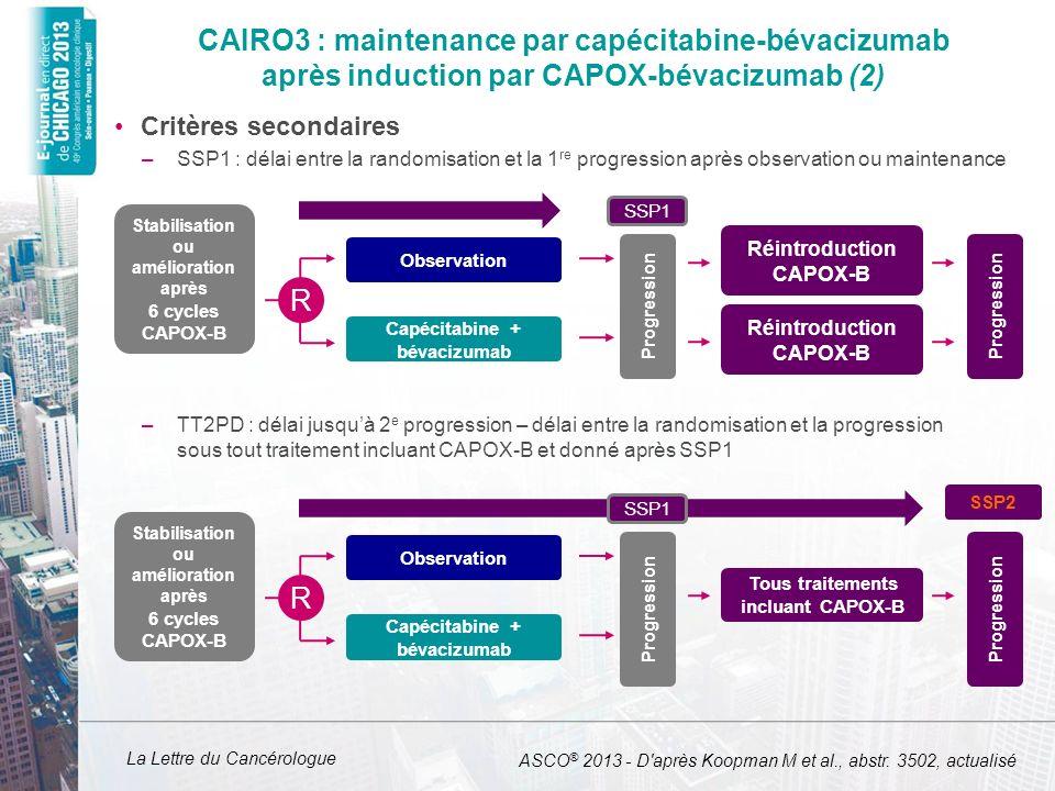 La Lettre du Cancérologue CAIRO3 : maintenance par capécitabine-bévacizumab après induction par CAPOX-bévacizumab (2) Critères secondaires –SSP1 : dél
