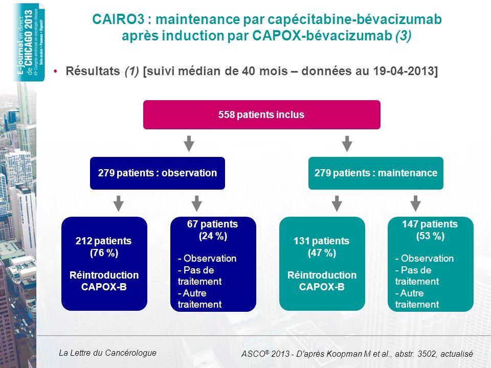 La Lettre du Cancérologue CAIRO3 : maintenance par capécitabine-bévacizumab après induction par CAPOX-bévacizumab (3) Résultats (1) [suivi médian de 4