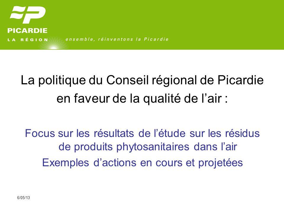 6/05/13 La politique du Conseil régional de Picardie en faveur de la qualité de lair : Focus sur les résultats de létude sur les résidus de produits phytosanitaires dans lair Exemples dactions en cours et projetées