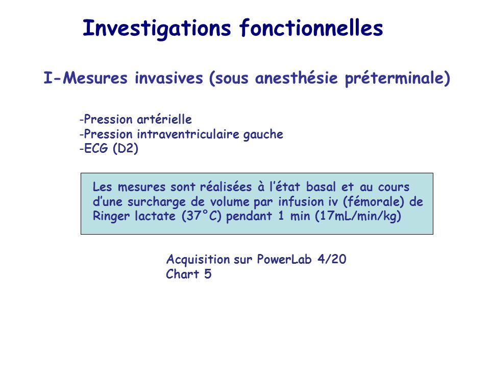 Investigations fonctionnelles I-Mesures invasives (sous anesthésie préterminale) -Pression artérielle -Pression intraventriculaire gauche -ECG (D2) Le