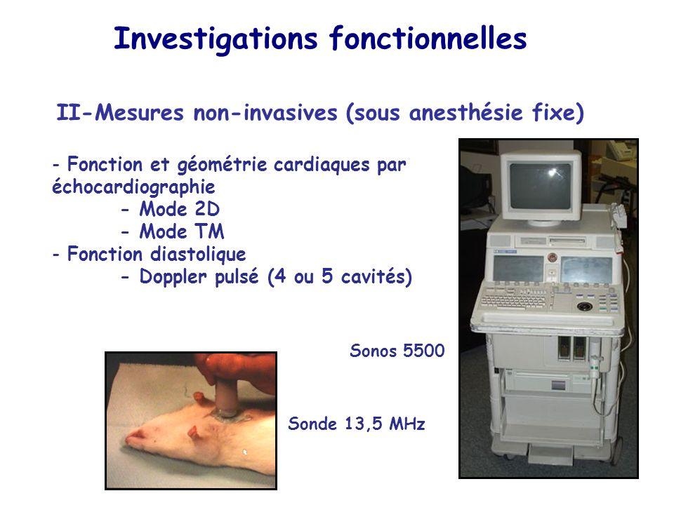 II-Mesures non-invasives (sous anesthésie fixe) - Fonction et géométrie cardiaques par échocardiographie - Mode 2D - Mode TM - Fonction diastolique -