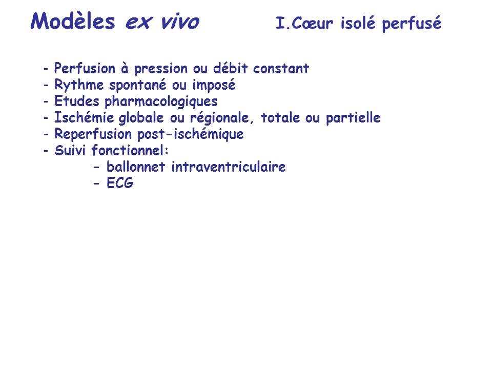 - Perfusion à pression ou débit constant - Rythme spontané ou imposé - Etudes pharmacologiques - Ischémie globale ou régionale, totale ou partielle -