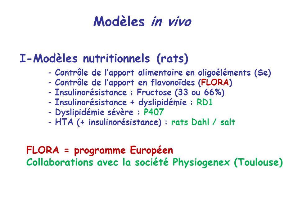 I-Modèles nutritionnels (rats) - Contrôle de lapport alimentaire en oligoéléments (Se) - Contrôle de lapport en flavonoïdes (FLORA) - Insulinorésistan