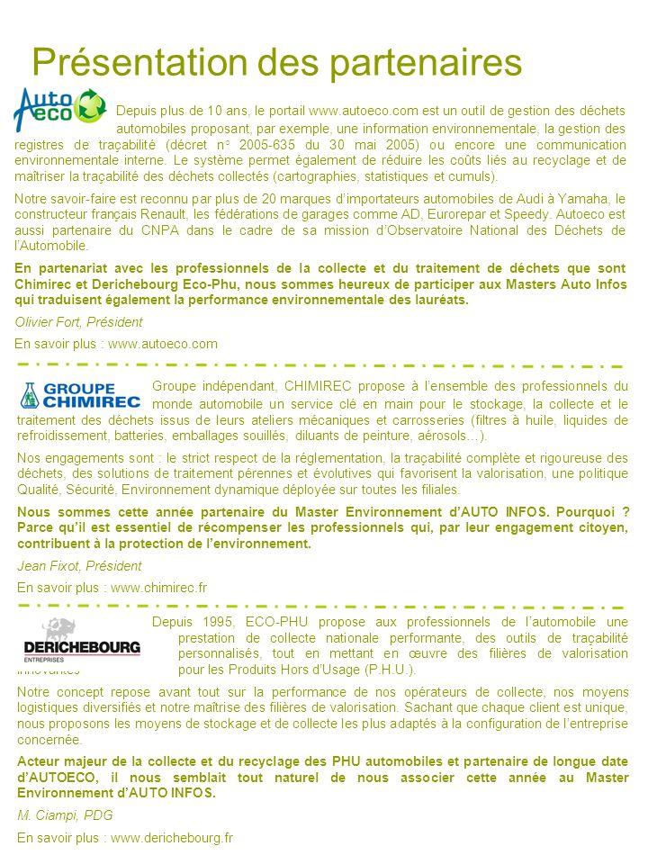Présentation des partenaires Depuis plus de 10 ans, le portail www.autoeco.com est un outil de gestion des déchets automobiles proposant, par exemple,