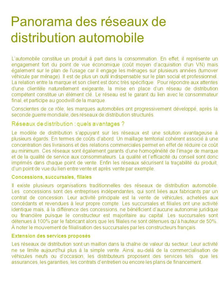 Panorama des réseaux de distribution automobile Lautomobile constitue un produit à part dans la consommation. En effet, il représente un engagement fo