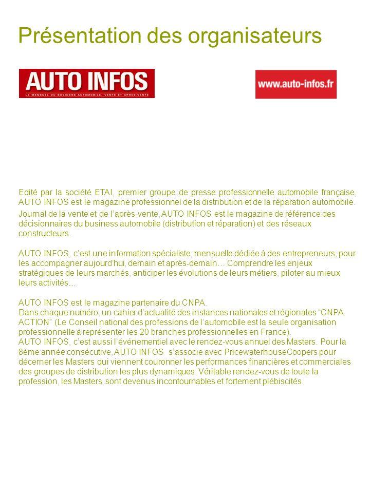 Présentation des organisateurs Edité par la société ETAI, premier groupe de presse professionnelle automobile française, AUTO INFOS est le magazine pr