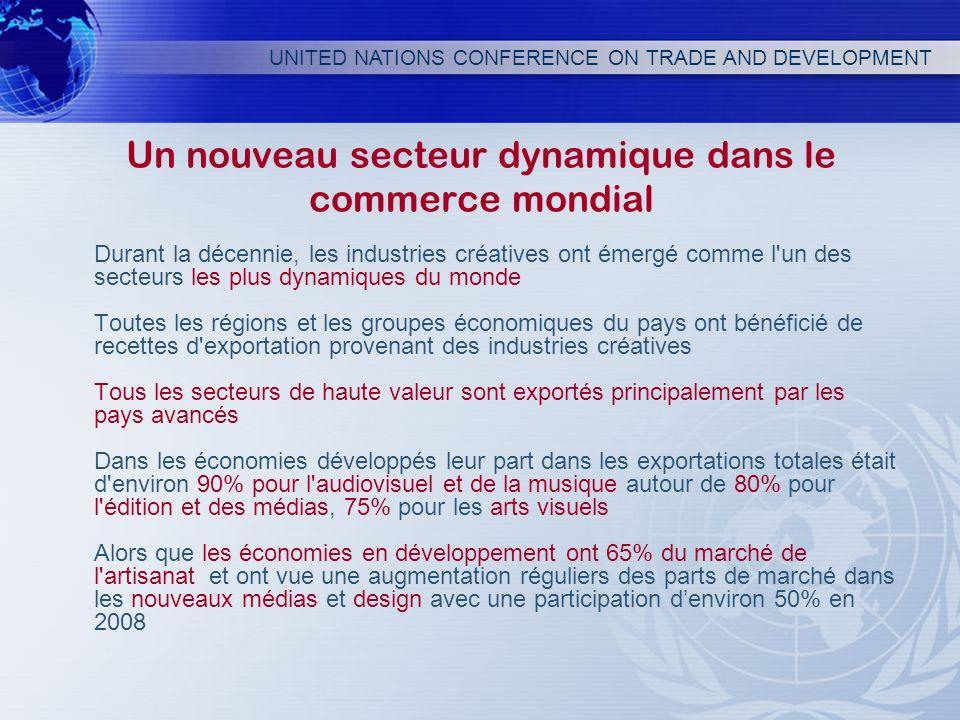 UNITED NATIONS CONFERENCE ON TRADE AND DEVELOPMENT Un nouveau secteur dynamique dans le commerce mondial Durant la décennie, les industries créatives