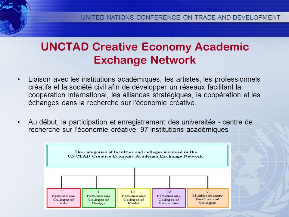 UNITED NATIONS CONFERENCE ON TRADE AND DEVELOPMENT UNCTAD Creative Economy Academic Exchange Network Liaison avec les institutions académiques, les ar