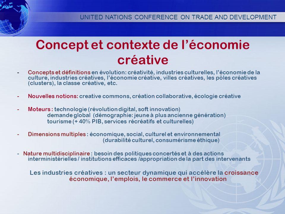 UNITED NATIONS CONFERENCE ON TRADE AND DEVELOPMENT Concept et contexte de léconomie créative -Concepts et définitions en évolution: créativité, indust