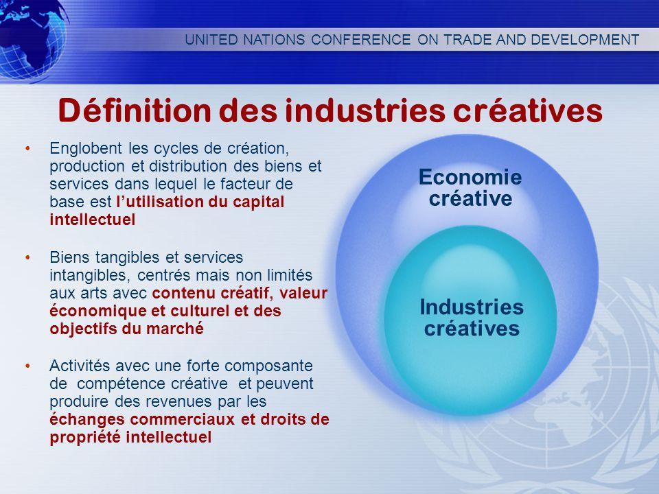 UNITED NATIONS CONFERENCE ON TRADE AND DEVELOPMENT Définition des industries créatives Englobent les cycles de création, production et distribution de