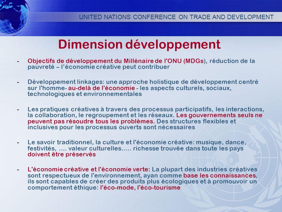 Dimension développement -Objectifs de développement du Millénaire de l'ONU (MDGs), réduction de la pauvreté – léconomie créative peut contribuer -Déve