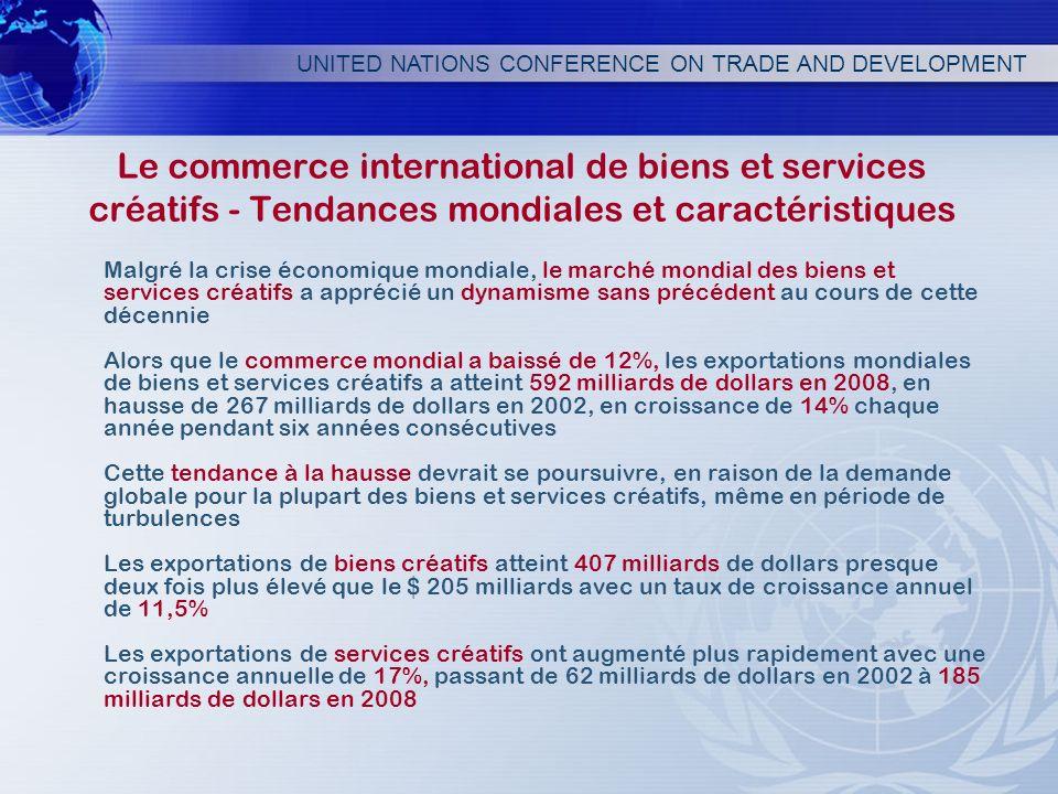 UNITED NATIONS CONFERENCE ON TRADE AND DEVELOPMENT Le commerce international de biens et services créatifs - Tendances mondiales et caractéristiques M