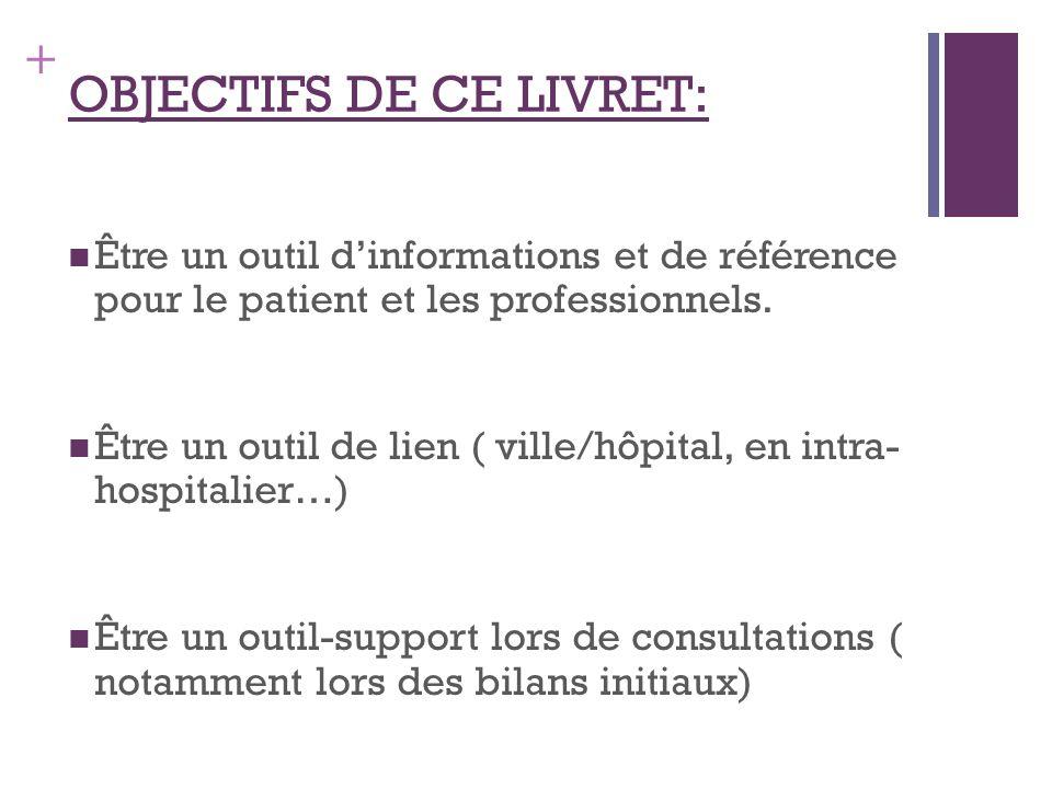 + OBJECTIFS DE CE LIVRET: Être un outil dinformations et de référence pour le patient et les professionnels. Être un outil de lien ( ville/hôpital, en