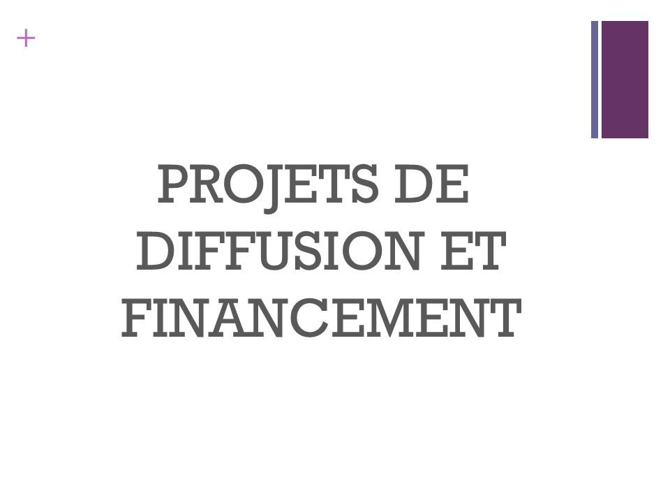 + PROJETS DE DIFFUSION ET FINANCEMENT
