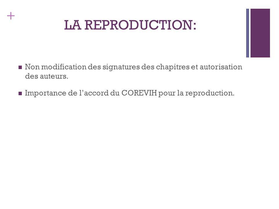 + LA REPRODUCTION: Non modification des signatures des chapitres et autorisation des auteurs. Importance de laccord du COREVIH pour la reproduction.