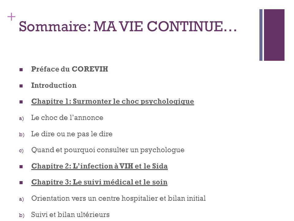 + Sommaire: MA VIE CONTINUE… Préface du COREVIH Introduction Chapitre 1: Surmonter le choc psychologique a) Le choc de lannonce b) Le dire ou ne pas l