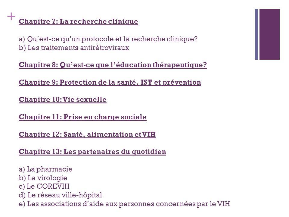 + Chapitre 7: La recherche clinique a) Quest-ce quun protocole et la recherche clinique? b) Les traitements antirétroviraux Chapitre 8: Quest-ce que l