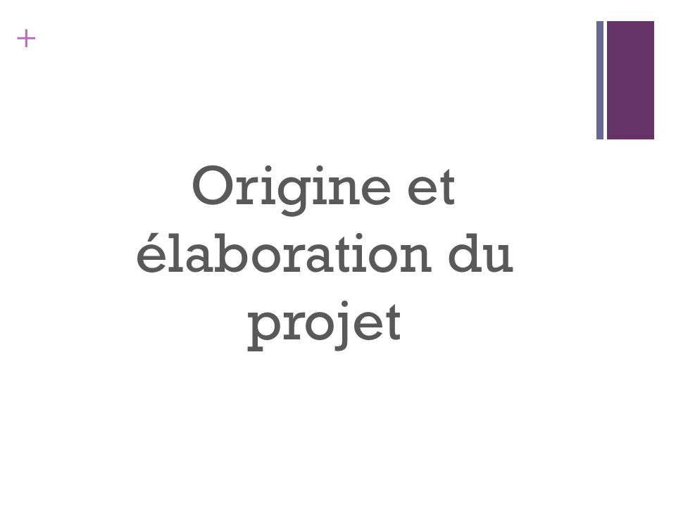 + Origine et élaboration du projet